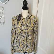 Zara Womens long Sleeve Top Size XS Yellow, Black, And White Paisley Career New