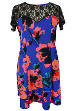 New Ladies Blue Coral Floral Lace Skater Dress Plus Sizes 16 - 26