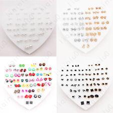 36 Pairs Multiple Styles Fashion Rhinestone Earrings Set Women Ear Stud Jewelry