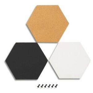 Juvale 3-Pack Cork Bulletin Boards - Hexagonal Decorative Tiles in 3 with 6 Pins