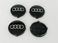 Schwarz 4 x 60mm Alufelgen Felgendeckel Nabenkappen Black Wheel Cap für AUDI