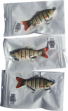 Lot of 3, Jointed Minnow Floating Crankbait Jerkbait Fishing Lure 3 3/4""