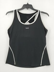 Reebok Womens Color Black Sleeveless Racerback (Size Tag Faded) Activewear Top