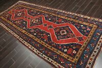 """4'7"""" x 11'9"""" Hand Knotted Wool Runner Vegetable dyes Area Rug Red Traditional"""