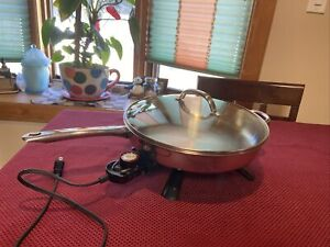 """PRESTO  Stainless Steel 12"""" Electric Skillet  1250 Watts  Model 730001 ~TESTED"""