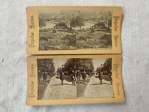 2 Antique Dayton OH Ohio Stereoview Cards Arcadia Soldiers Home Connecticut Ave