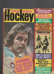 Action Sports Hockey Magazine February 1975 Derek Sanderson Ken Dryden