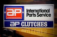 Vintage AP Clutch Great Britain International Parts Service Foreign Car Sign