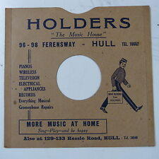 "78rpm 10"" card gramophone record sleeve / cover HOLDERS , HULL"