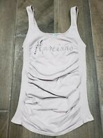 Marciano Logo Women Nude Stretched Ruched Sleeveless Tank Top XS/S Made in USA