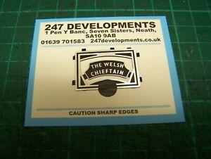 """0"" Gauge 247 Developments Loco Headboard The Welsh Chieftain (black)"
