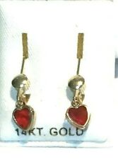 New 14k Yellow Gold Ruby Heart Leverback Earrings-Free Shipping!
