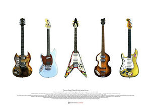 Famous Guitars played by Left-handed Artists ART POSTER A2 size