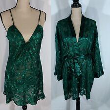 Vtg Fredericks of Hollywood Sheer Camisole Robe Set Sz XL Green Plunge Lace Up