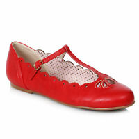 Bettie Page BP100-MAILA Red Flat T-Strap Shoe