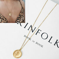 Gold Rose Flower Round Coin Pendant Chain Necklace Women Fashion Jewelry Gift