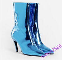 Runway Womens Patent Shiny Leather Mid Calf Boots Stiletto Pointy Toe Shoes Chic