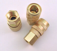 "3pc Set 1/4"" NPT Female M-Style Air Line Hose Quick Connect Coupler"