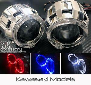 Angel Halo Eye Projector Lens Built-In LED HID Headlights Lights for Kawasaki