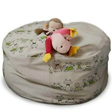Stuffed animal storage bean bag chair, Frogs linen cover, Chartreuse green pouf,