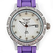 Ladies Aviator Watch 5 Changeable Straps Black White Purple Blue Yellow AVX3665L