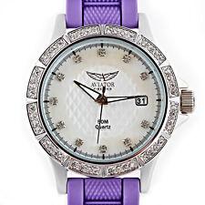 Señoras Reloj de Aviador 5 Intercambiable Correas Negro Blanco Violeta Azul Amarillo AVX3665L