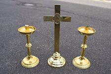 + 3 Piece Set + Pair of Altar Candlesticks & Altar Cross + chalice co. + (CU255)