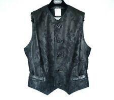 GIANNI VERSACE black leather waistcoat mesh floral vest mens formal 46 M