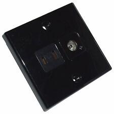 AERIAL & 12V CLIPSAL type SOCKET SQUARE BLACK CARAVAN MOTORHOME YACHT TV COAX