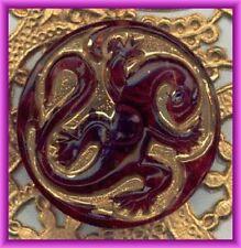 CZECH GLASS BUTTON - Gecko Lizard Gold Purple Transparent