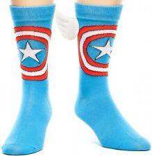 MARVEL COMICS CREW SOCKS WITH WINGS CAPTAIN AMERICA ADULT BLUE ONE SIZE FITS ALL