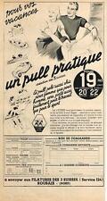 PUBLICITE  ADVERTISING   1937   FILATURE DES 3 SUISSES   un pull pratique