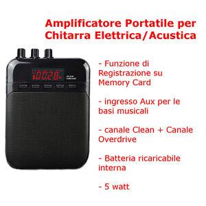 AMPLIFICATORE PER CHITARRA Mini Portatile USB SD Ricaricabile REGISTRATORE 5WATT