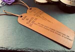 Personalised Engraved Leather Bookmark - 3 Year Anniversary Gift