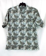 NWT Daniel Cremieux Hawaiian Print Tan Short Sleeve Point Collar Shirt Large $85