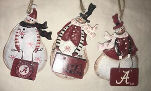 Alabama Crimson Tide METAL SNOWMAN ORNAMENTS 3 ASSORTED Bama