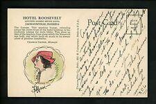 Florida FL postcard Jacksonville, Hotel Roosevelt w/ Artist Signed Drawing woman