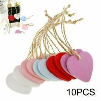 10x Wooden Heart Shape MDF Blank Cutout Tags for Craft Bunting Wedding Party WL