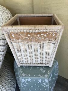 Pier 1 Imports Wicker Rattan Cottage Tropical One Jamaica Trash Can
