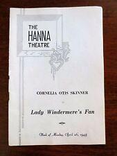 1948 Hanna Theater Lady Windermere's Fan OScar Wilde Program Cleveland OH