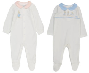 PETER RABBIT PINK OR BLUE COLLARED SLEEPSUIT - New