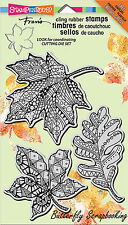 Fall Leaves PenPattern Unmounted Cling Rubber Stamps Set Stampendous CRS5068 NEW