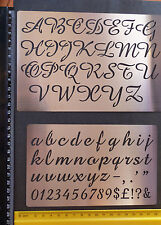 Metal/stencil/Oblong/Upper/Lower Case/Script/Alphabet/Emboss/LARGE/SET of 2