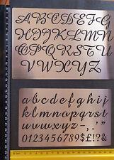 Metal/stencil/Oblong/Upper/Lower Case/Script/Alphabet/Emboss/LARGE/SET of 2