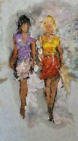 ANDRE DLUHOS ORIGINAL ART OIL PAINTING Women City Figures People Fashion Girls