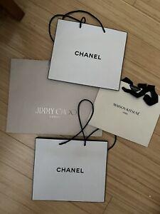 5 Designer Shopping Bags Collection Lot CHANEL (3) Jimmy Choo Maison Kitsune