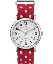 "Timex TW2R10400, ""Weekender"" Red Fabric Watch, Indiglo, TW2R104009J"