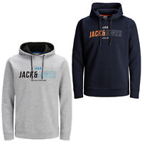 Jack & Jones Core Hoodie Mens Logo Print Drawstring Hooded L/S Sweater JCOMondo