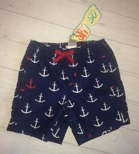 NWT Hatley Boys Nautical Anchor Navy Swim Trunks 18 24