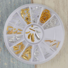3D Nail Art Decoration Gold Silver Leaf Stick Bead Chain Pattern Charms Manicure